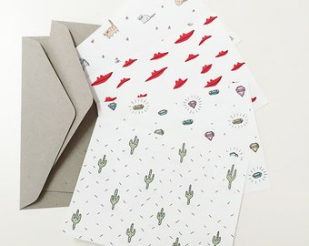 Postcard set of 8, writing set, artist cards 'Quirky'