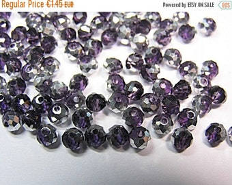 ON SALE 50 Kristall-Schliffperlen FP 4x3mm Lila Silber Rondell faceted beads silver purple Abacus
