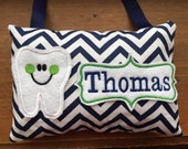 Navy blue chevron personalized tooth fairy pillow