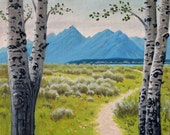 Wyoming 'Blue Tetons' - commission - original landscape painting