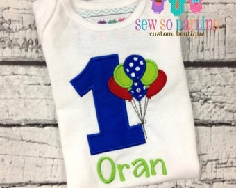 Baby Boy Birthday Outfit - 1st Birthday Balloon Birthday Outfit - 1st Birthday Shirt