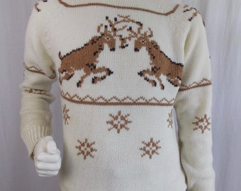 "Vintage Men's ""Rutting Stags"" Sweater Large, XL"