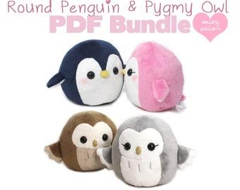 """PDF sewing pattern bundle - Owl and Penguin plush - cute easy kawaii stuffed animal DIY plushie 4.5"""" round handheld size"""