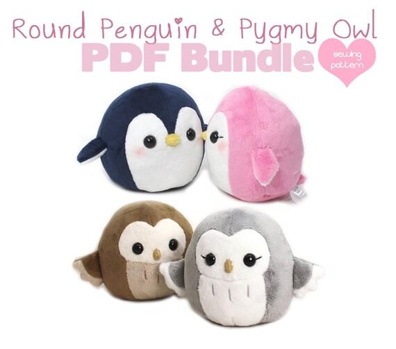 PDF sewing pattern bundle - Owl and Penguin plush - cute easy kawaii ...