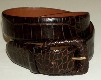 "Vintage alligator stamp Leather Belt / H made Italy / luxe / dark brown / 27 - 31"""