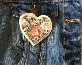 Flower Heart Brooch