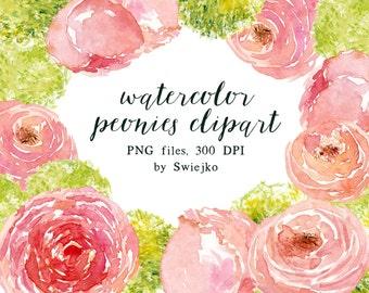 Digital Clipart, Watercolor Flowers, Peonies Bouquet, Digital Peonies, Watercolor Roses