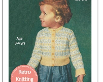 1950s Child's Fair Isle Cardigan Knitting Pattern  - PDF Knitting Pattern - Instant Download