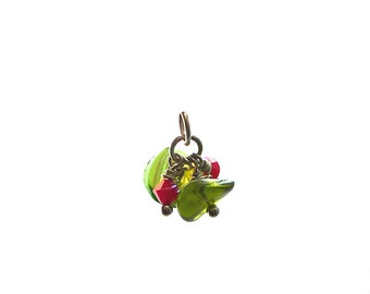 SALE green red berry cluster pendant, green metallic luster leaf red faceted Czech glass, stainless steel finishing, spring, fruits, berry