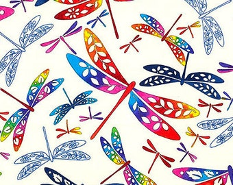 Colorful Dragonflies: White 'Flight of Colors' Asian Japanese Kona Bay Fabric (Per 1/2 Yd)