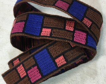 Vintage Tapestry Trim: Chocolate Brown, Blue, Peach, Rose 1 1/4 inch wide, Rectangles and Squares #504