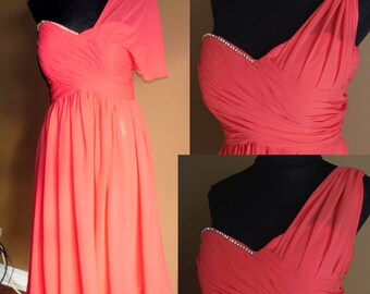 Coral bridesmaid dress,  convertible chiffon bridesmaid dress knee length