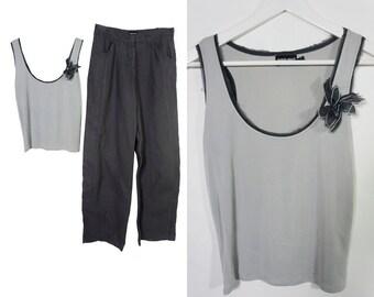 Armani two pieces suit - cargo pants ant top  - Minimal style - Linen cargo style pants - M size.