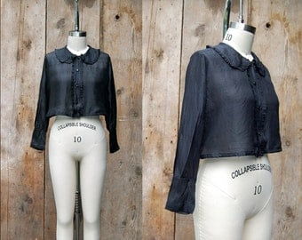 c. 1920s cropped blouse + vintage 20s ruffled peter pan collar silk top