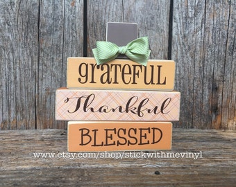 Grateful thankful blessed sign, WOOD pumpkin, MINI STACKER wood blocks, Halloween blocks! Thanksgiving decor fall mini stacker wood block
