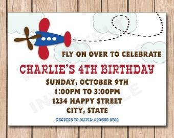 Airplane Birthday Invitation | Plane - 1.00 each printed or 10.00 DIY file
