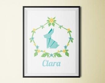 "Customizable Printable 8""x10"" Poster - Rabbit, Name, Flowers, Spring, Bunny, Children room, Nursery, Blue, Minimalist, Kid"