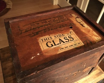 Antique whiskey box with sliding top lid