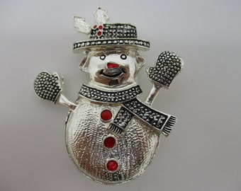 Silver Tone Snowman Brooch with Red Enameling