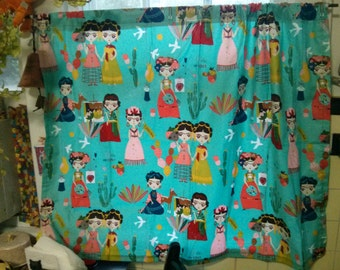 Handmade Alexander Henry Fabric Frida Kahlo Dolls Window Curtain
