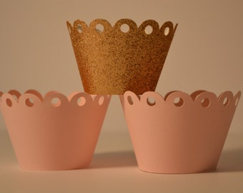 Pink and Gold Cupcake Wrapper -12 Pieces