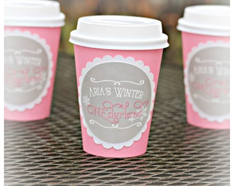 Hot Cocoa Cups Girl Winter Onederland Winter Wonderland 1st Birthday Party Hot