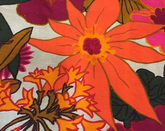 1960's Vintage Drapery Panel/ Barkcloth / Fabric / Material 47 x 48 an Original Vat Screen Print