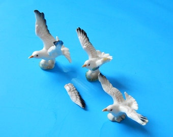 3 Bone China Seagulls Miniature Statues Figurines (1 Broken Wing) Japan