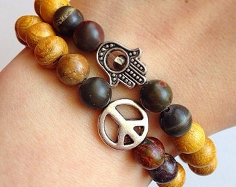 Jasper Stone and Light Wood Bead Bracelet Zen Set with Hamsa and Peace Sign Charms // Gemstone Healing