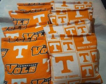 8 ACA Regulation Cornhole Bags - NCAA Tennessee Volunteers on 2 Different Prints