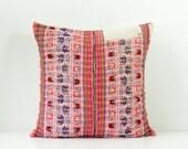 "RARE VINTAGE Handmade Boho Bohemian ikat Aztec Textile Hmong Embroidered Ethnic Made Tradition Costume Pink Lumbar Pillow Case 20"" x 20"""