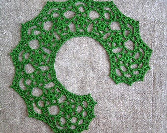 Lace green collar necklace Lace collar dress Accessories Collars Bibs Collars Womens lace Crochet lace collar Handmade MyWealth