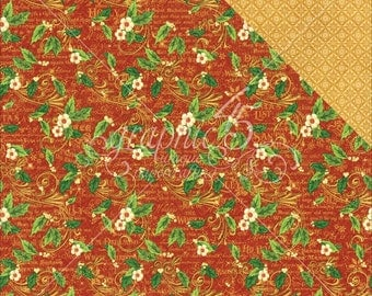 2 Sheets of ST. NICHOLAS Christmas Scrapbook Paper by Graphic 45 - Holly Daze