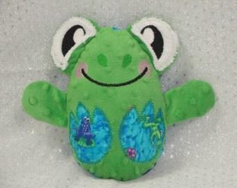 Frog Stuffed Toy/ Stocking Stuffer/ Stuffed Animal/ Plushie/ Frog Softie/ Frog Peekaboo/ Reversible/ Peekaboo Frog