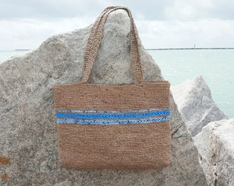 Over sized shoulder bag - Plarn Beach Bag - Recycled Crochet Bag - Blue Striped Shopping Bag