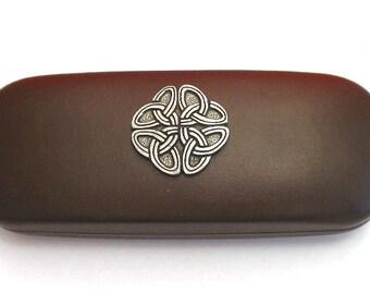 Celtic Knot Brown Faux-Leather Glasses Case