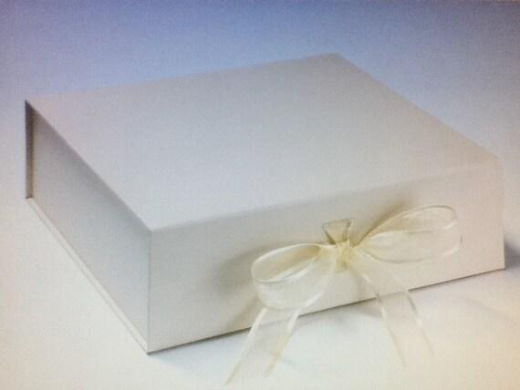 Large Ivory Wedding Keepsake Memory Box Plain Scrapbook