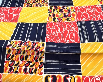 1960's 70's Colorful Patchwork Fabric Heavy Weight Yellow Orange Navy Drape Fabric, Vintage Decor Upholstery Weight Remnant Fabric, Curtain