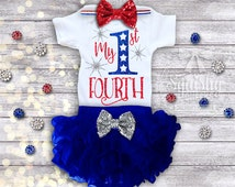 1st 4th of July Outfit, July 4th Baby Girl Outfit, My 1st 4th, Baby Girl July 4th Outfit, Patriotic Outfit Includes: Top, Skirt, Headband