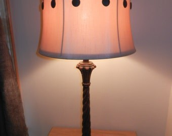 Vintage Table Lamp with Its Free Hanging Button Silk Shade