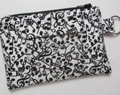 Music Keychain ID Wallet w/ Split Ring, Student / Teacher / Work ID, Badge Holder, Zip Pouch, Notes, Clef - 2 Options for ID Pocket