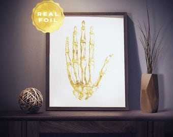 Hand Anatomy 4x6 - 5x7 - Human Anatomy - Anatomy Art - Medical Art - Hand Art - Bone Art - Medical Office Decor - Medical Student Gift