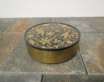 vintage Decorative ONIDA BRASS  Jewelry box, Trinket box, with inlaid birds and flower design