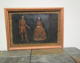 "vintage 3D Copper Art  ""  A GENTLEMAN and A LADY "" roughly framed 14 3/4 in. by 10 3/4 in frame"