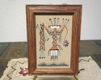 """vintage framed  5  1/2""""  by 7  1/2 """" SAND ART PICTURE"""