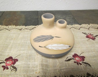 1985  GREY FEATHER POTTERY Double Spouted  Jug #8 , Signed Grey Feather** Desert Pueblo Pottery