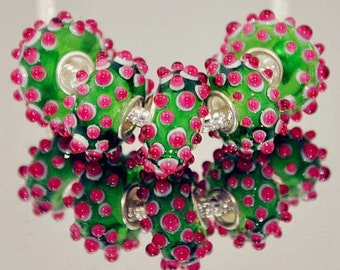 Lovely Pink and Green Murano Glass Lampwork Bead Charm fit .925 silver Core European Bracelet Chain