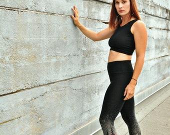 Starry Night, Yoga leggings, Bamboo Terry Leggings, Black Leggings, Tree Line Print, Hand Painted Leggings, Handmade Yoga Tights