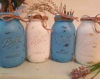 Distressed Mason Jar, Painted Mason Jar, Wedding, Baby Shower, White and Blue