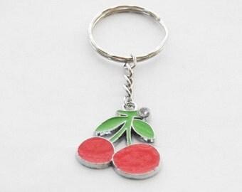 Mothers day sale, Cherry Keychain, Cherries, Silver Cherry Key Ring, Cherry Gift, Cherry Accessories, Silver Cherries Keychain, Fruit Gift